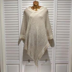 Cream sequin poncho shawl